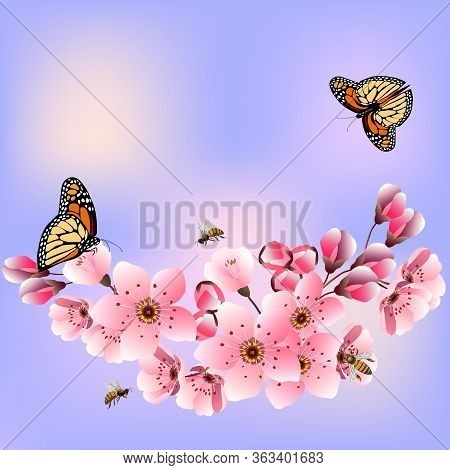 Blooming Cherry In A Vector Illustration.greeting Card With Blooming Cherry.