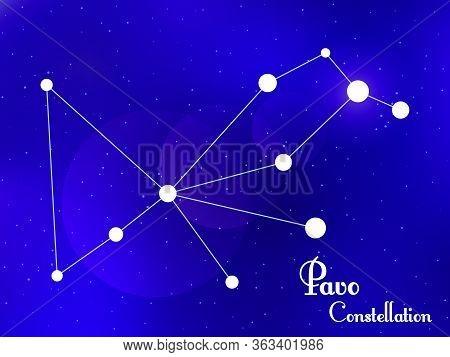 Pavo Constellation. Starry Night Sky. Cluster Of Stars, Galaxy. Deep Space. Vector Illustration