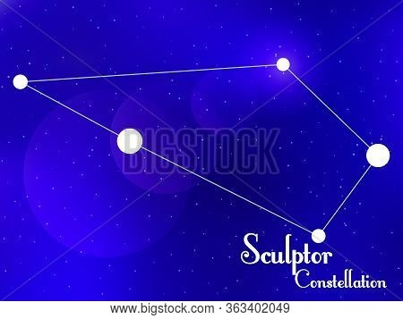 Sculptor Constellation. Starry Night Sky. Cluster Of Stars, Galaxy. Deep Space. Vector Illustration