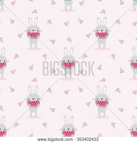 Cute Bunny Eat Watermelon Seamless Pattern. Lovely Animal In Summer Time Concept.