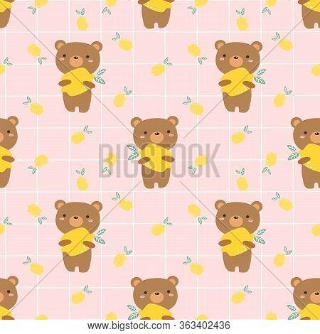 Cute Bear And Lemon Seamless Pattern. Summer Lemon Concept.