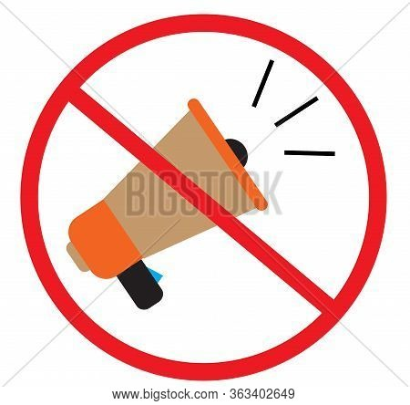 No Megaphone Icon On White Background. Flat Style. No Noise Icon For Your Web Site Design, Logo, App