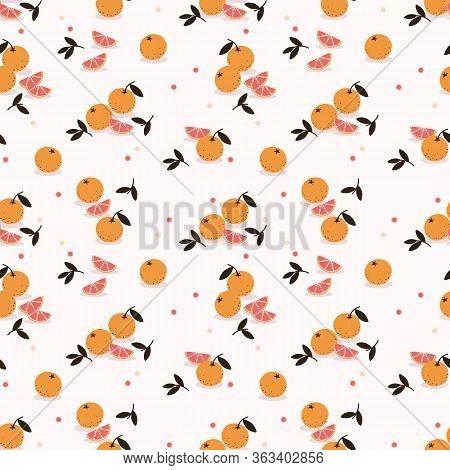 Fresh Orange Seamless Pattern. Summer Fruit Concept.
