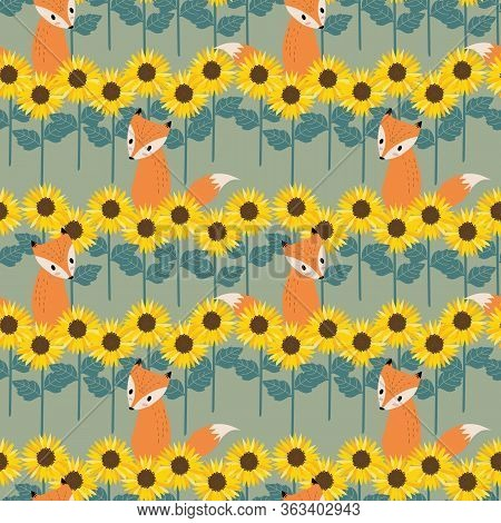 Fox In Sunflowers Field Background Seamless Pattern.  Summer Flower Concept.