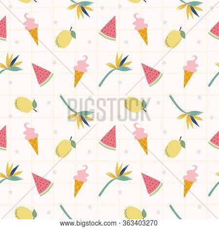 Fresh Lemons, Watermelon And Cute Icream Seamless Pattern Vector. Hand Drawn Of Colorful Citrus Frui