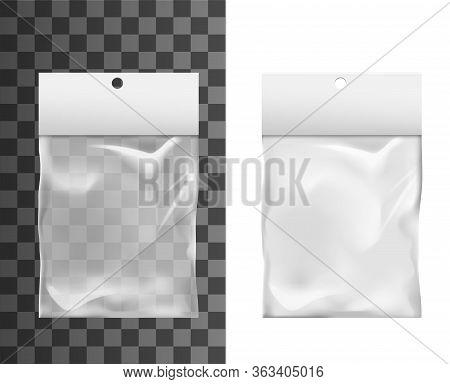 Plastic Foil Bag With Hole In Paper Clip, Vector Realistic 3d Mockup. Transparent Plastic Bag Packag