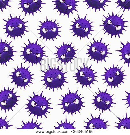 Virus Seamless Pattern, Cartoon Microbes On White Background. Germs And Corona Virus Rna Covid 19 Ba