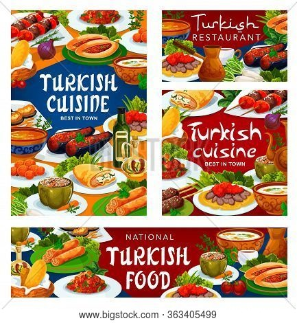 Turkish Cuisine Restaurant Vector Menu Banners And Posters. Turkey National Food Breakfast, Lunch An