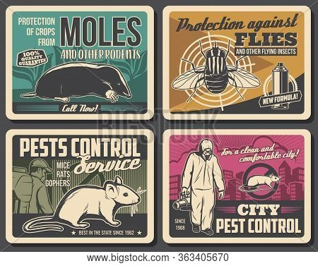 Pest Control Service, Vector Retro Posters, Insects Disinsection, Rodents Extermination And Deratiza