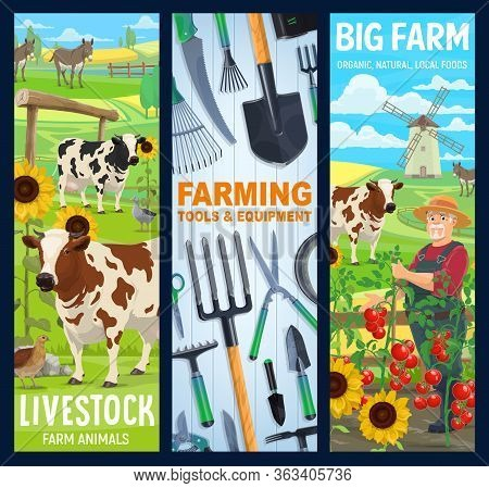 Cattle Farm And Gardening Agriculture, Vector Banners. Farmer Equipment Tools For Planting And Harve
