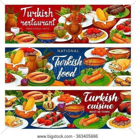 Turkish Cuisine Banners, Turkey National Food Restaurant Vector Menu. Authentic Turkish Traditional