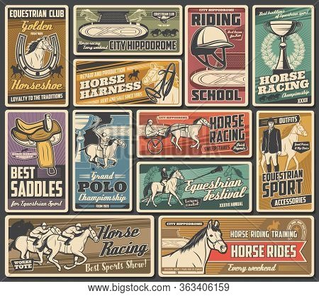 Horse Races, Jockey Polo And Equestrian Sport Championship Cup, Vector Vintage Posters. Horse Racing