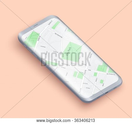 Smartphone Layout Presentation Mockup. Example Frameless Model Smartphone With Map On Screen. Techno