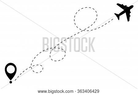 Airplane Flight Route Icon. Airplane Travel Concept. Icon Of An Airplane Flight On A Dash Line From