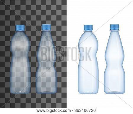 Water Bottle, Vector Realistic 3d Transparent Empty Plastic Bottle Mockup With Blue Cap Lid. Mineral