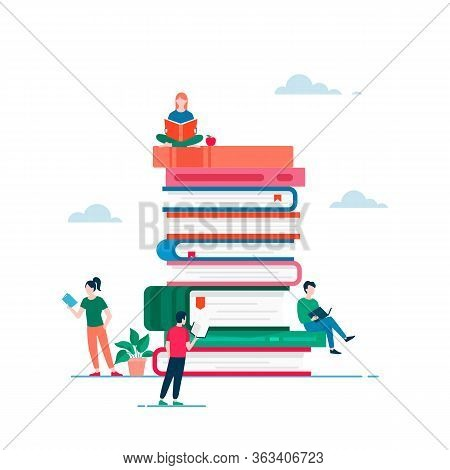 Stack Of Book And Reading People Vector Flat Design. Man And Woman Read Different Books