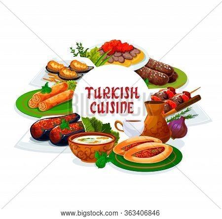 Turkish Cuisine Restaurant Vector Menu Cover, Turkey National Food Dishes. Authentic Turkish Traditi