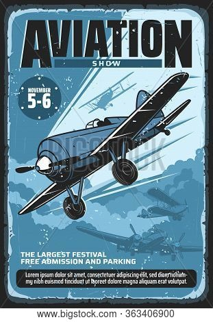 Aviation Show, Military Airplane Professional Pilot Flights Festival, Vector Vintage Retro Poster. C