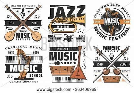 Jazz Music Fest And Live Musical Festival Show, Vector Icons. Folk And Classic Orchestra And Concert