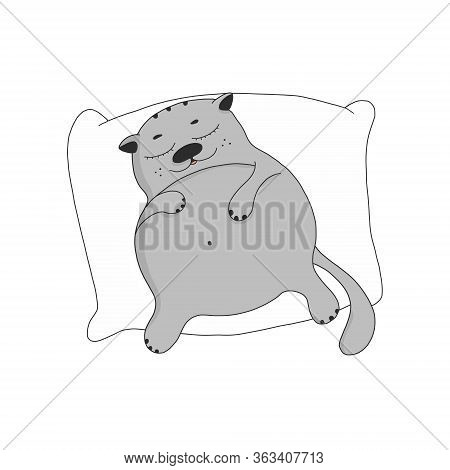 A Lazy Fat Cat Sleeps On A Pillow. Cute Cartoon Character. The Pet Is Resting.vector Illustration Is