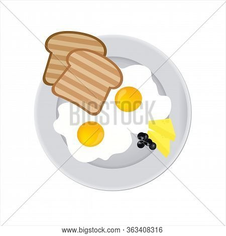 Tasty And Nutritious Breakfast - Two Fried Eggs With Cream Cheese, Toast And Olives On A Plate. Clos