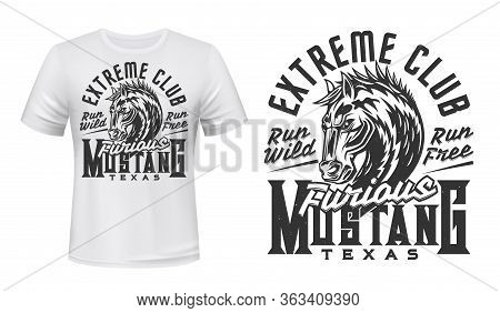 Mustang Horse, Vector Print For T-shirt Mockup. Wild Stallion Symbol, Equine Horse Racing And Texas