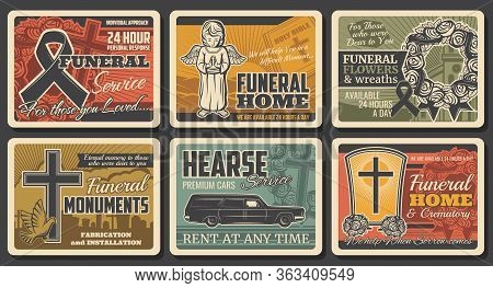 Funeral Service, Hearse Catafalque Car Rental And Tomb Monuments Fabrication, Vector Vintage Posters