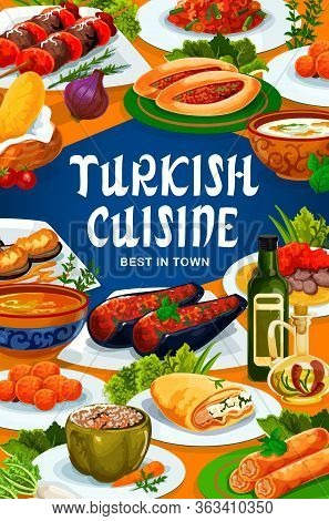 Turkish Cuisine Food, Vector Restaurant Menu Traditional Dishes And Meals. Turkish National Iskender