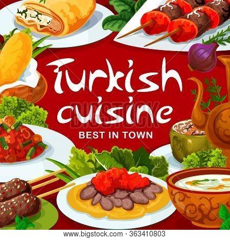 Turkish Cuisine Food Restaurant Menu, Vector Traditional Dishes And Meals. Turkish Iskender Kebab Me