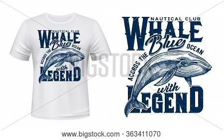 Nautical Club T-shirt Print, Ocean Whale Fish, Vector Grunge Navy Blue Template Mockup. Navy Quote B