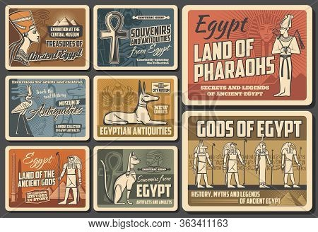 Egypt Travel Agency Vector Vintage Retro Posters. Cairo And Giza Sightseeing Tours. Ancient Egypt Py