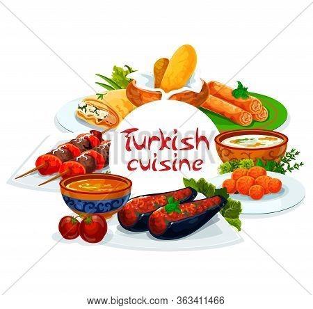 Turkish Cuisine, Vector Turkey Authentic Food Restaurant Menu, Traditional Dishes. Turkish Shish Keb