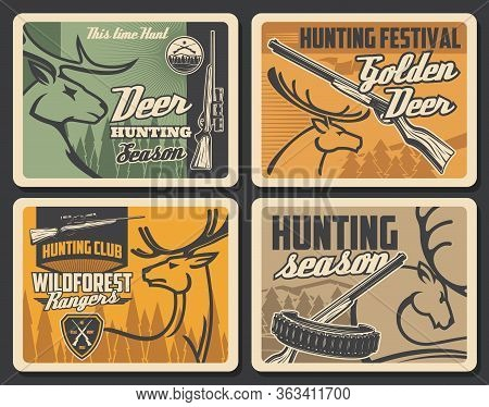 Hunter Club And Wild Animals Hunt Season, Vector Vintage Retro Posters. Forest Golden Deer And Elk A
