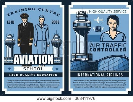 Aviation School, Airplane Pilots And Flight Attendants Training, Vector Vintage Posters. Airport Han