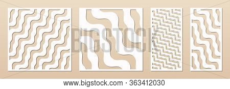 Laser Cutting Decorative Panel Set. Vector Template With Abstract Geometric Pattern, Wavy Lines, Str