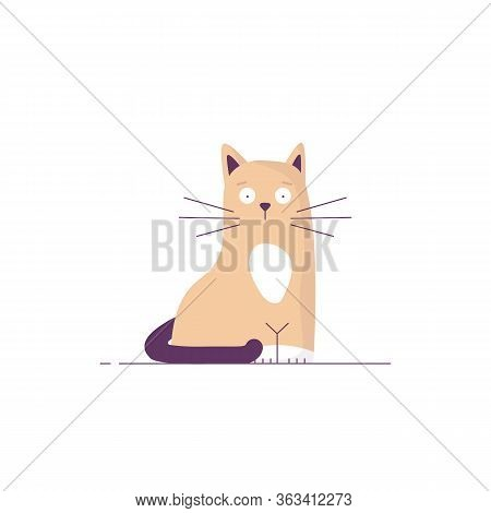 Cute Cat With Whiskers And Big Eyes. Yellow Or Light Brown Cat With Dark Tail. Simple Style Vector W