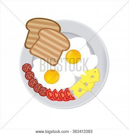 Tasty And Nutritious Breakfast - Two Fried Eggs And Sausage Slices With Cheese And Ripe Tomato Slice