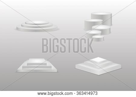 Cylinder Podium Set With One Step, Competition Winner Award Platform Stage. Winners Podium For Busin