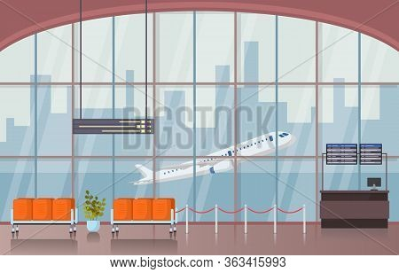 Airport Airplane Terminal Gate Waiting Room Hall Interior Flat Illustration