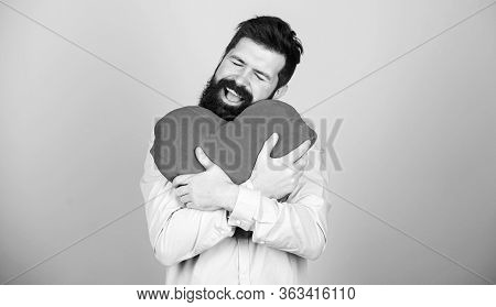 Happy In Love. Make Him Feel Loved Every Day. Man Bearded Hipster Hug Heart. Celebrate Valentines Da