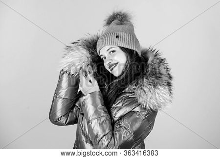 Emotional Woman In Jacket. Winter Outfit. Enjoying Her Outfit. Pretty Girl Wear Fashion Outfit For C