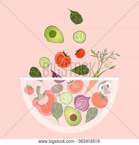 Vegetable Salad Bowl. Vegetables Falling Into A Bowl. Trendy Vector Illustration For Web And Print P