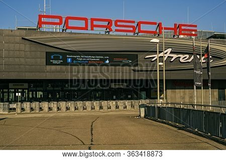 Stuttgart,germany - April 01,2020:bad Cannstatt This Is The Main Entrance Of The Modern Event Hall P