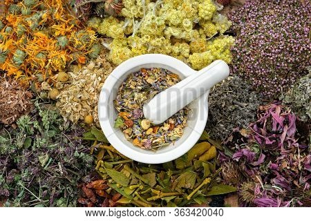Healing Herbs And Mortar Of Medicinal Herbs - Thyme, Coneflower, Marigold, Daisies, Helichrysum Flow
