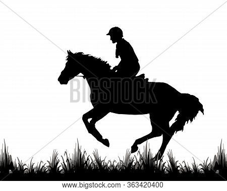 Rider On A Horse Galloping At A Reduced Gallop, Black Isolated Silhouette On A White Background