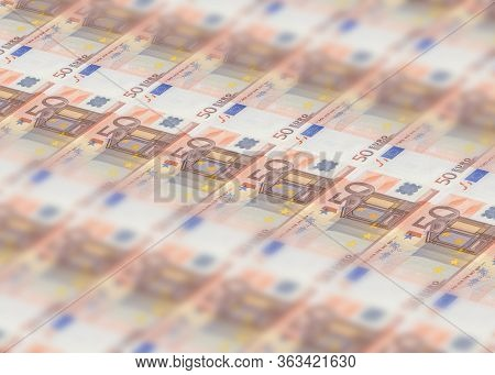 Millions Banknotes Stack Of 50 European Euros With Mario Draghi Sign, Ecb President. Concept Of Prin