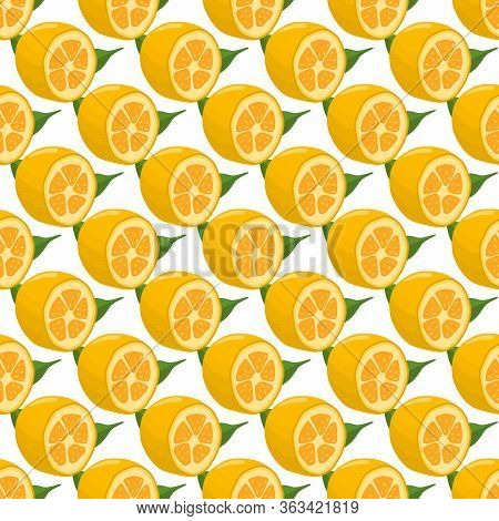 Illustration On Theme Big Colored Seamless Kumquat, Bright Fruit Pattern For Seal. Fruit Pattern Con