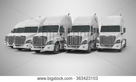 3d Rendering Of Concept Of Group Of White Trucks For Long Distance Trucking Side View On Gray Backgr