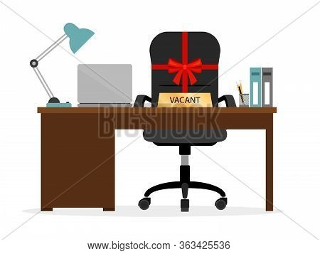 Vacant Chair Hr Icon. Had Hunter , Employment New Office Staff Needed Concept Vector Illustration