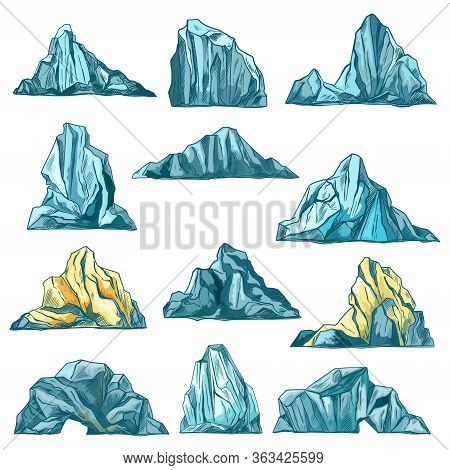 Sketch Icebergs, Mountain Rocks And Icy Mounts